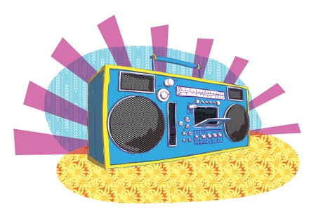 Retro Boom-box in pop-art manner  Vector