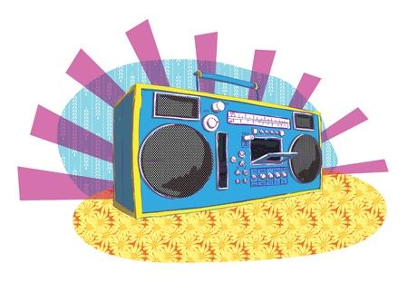 manner: Retro Boom-box in pop-art manner  Illustration