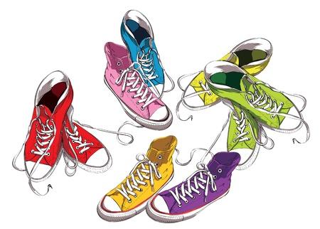 運動鞋中設置顏色 向量圖像