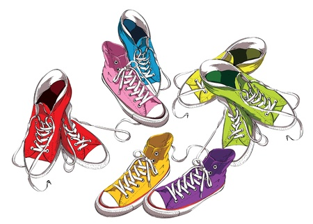 Sneakers Set in Colors  Vector