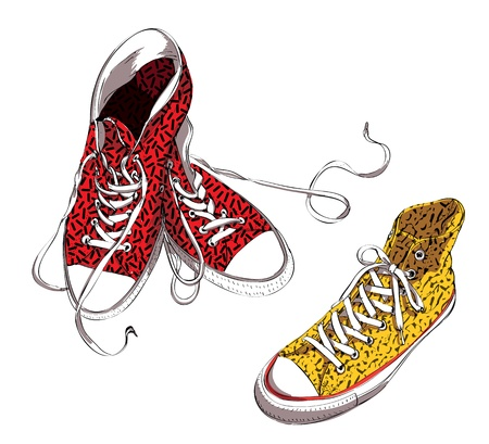 Sneakers with Pattern  Vector