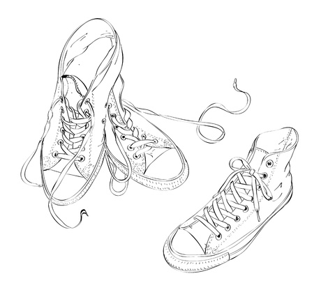 Sneakers in Black and White  Vector