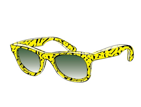 eye wear: Yellow Retro Sunglasses With Pattern Doodle isolated on white background