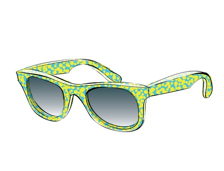 Blue Retro Sunglasses With Yellow Pattern Doodle isolated on white background Stock Vector - 17141732