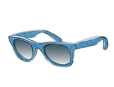 Blue Retro Sunglasses With Pattern Doodle isolated on white background
