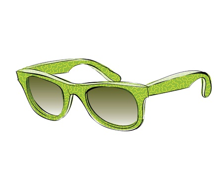 Green Retro Sunglasses With Pattern Doodle isolated on white background  Stock Vector - 17141339