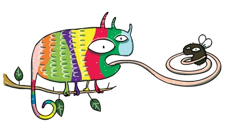lengua larga: Chameleon y Fly Cartoon