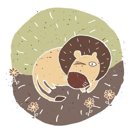 Hand drawn grunge illustration of cute sleepy lion on background Stock Vector - 17141324