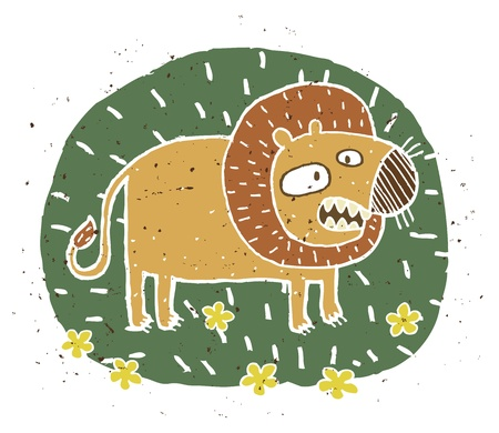 Hand drawn grunge illustration of cute roaring lion on background  Vector