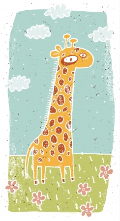 Hand drawn grunge illustration of cute giraffe on background Stock Vector - 17141340