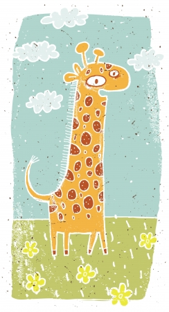 Hand drawn grunge illustration of cute giraffe on background  Vector