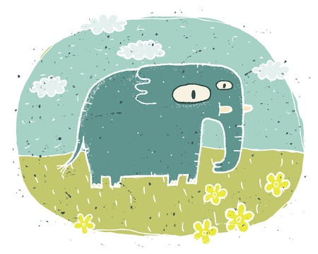 Hand drawn grunge illustration of cute elephant on background with flowers and clouds Stock Vector - 17141331