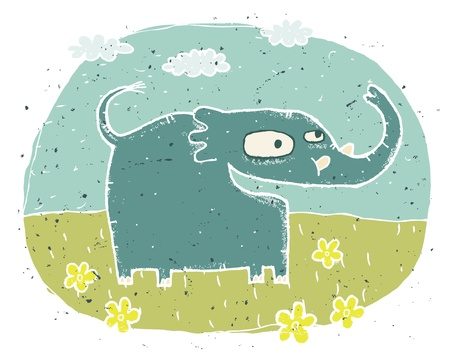 Hand drawn grunge illustration of cute elephant  happy  on background with flowers and clouds  Vector