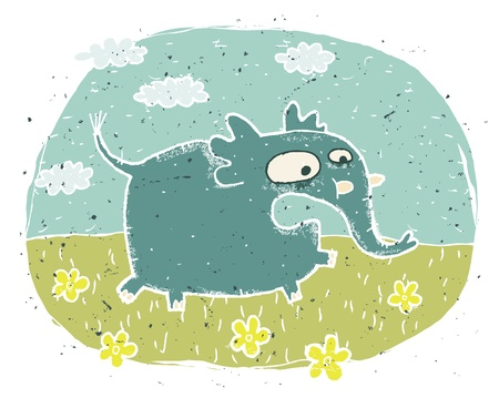 Hand drawn grunge illustration of cute elephant  scared  on background with flowers and clouds Stock Vector - 17141337