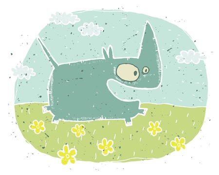 Hand drawn grunge illustration of cute rhino  excited  on background with flowers and clouds  Stock Vector - 17141333