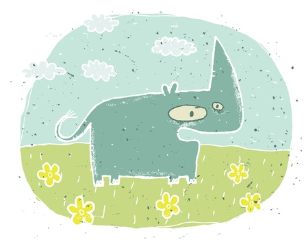 Hand drawn grunge illustration of cute rhino  surprised  on background with flowers and clouds Stock Vector - 17141332