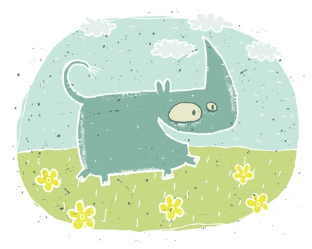 Hand drawn grunge illustration of cute rhino  smiling  on background with flowers and clouds  Stock Vector - 17142184
