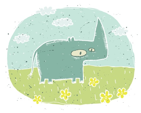 Hand drawn grunge illustration of cute rhino on background with flowers and clouds  Stock Vector - 17142188