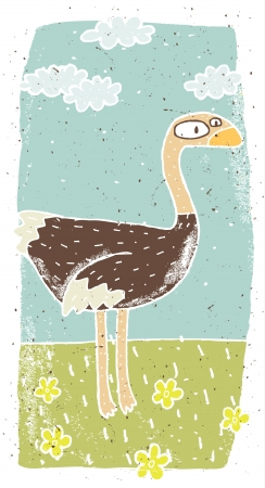 Hand drawn grunge illustration of cute ostrich on background with flowers and clouds Stock Vector - 17142617