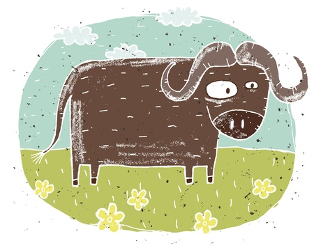 buffalo: Hand drawn grunge illustration of cute buffalo on background with flowers and clouds