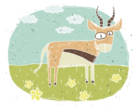Hand drawn grunge illustration of cute antelope on background with flowers and clouds Stock Vector - 17142263