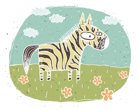 Hand drawn grunge illustration of cute zebra on background with flowers and clouds Stock Vector - 17142264