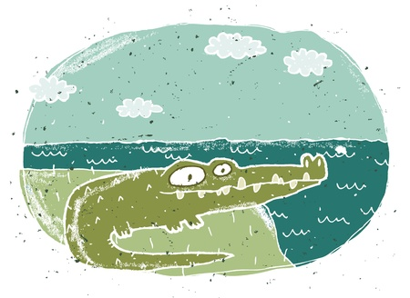 Hand drawn grunge illustration of cute crocodile on background Stock Vector - 17142647