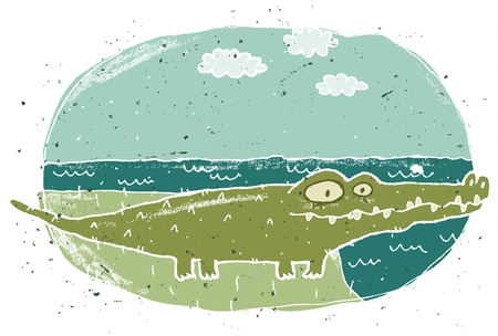 Hand drawn grunge illustration of cute crocodile on background Stock Vector - 17142637