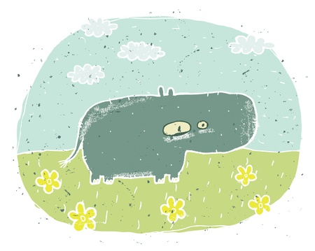 Hand drawn grunge illustration of cute hippo on background with flowers and clouds Stock Vector - 17142193