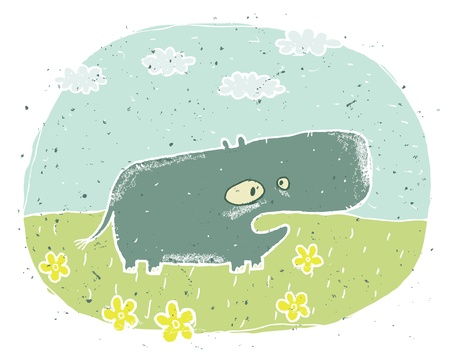 Hand drawn grunge illustration of cute hippo  thinking  on background with flowers and clouds Stock Vector - 17142243