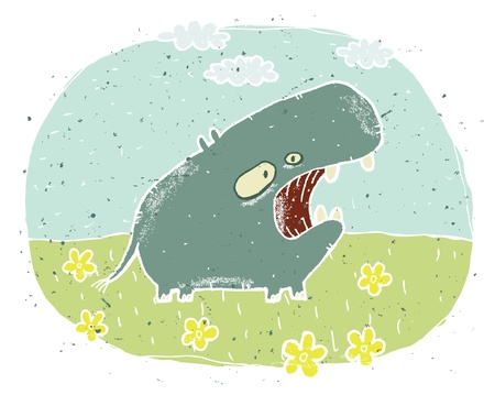 Hand drawn grunge illustration of cute hippo  roaring  on background with flowers and clouds Stock Vector - 17142195