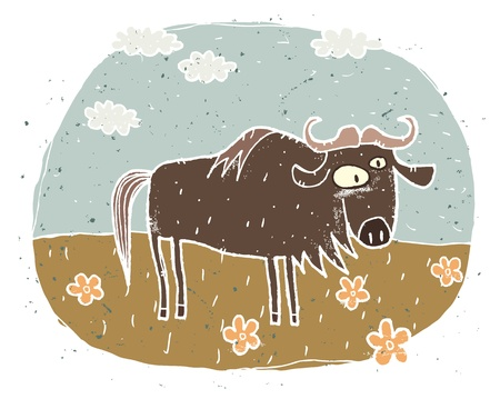 Hand drawn grunge illustration of cute gnu on background with flowers and clouds Stock Vector - 17142181
