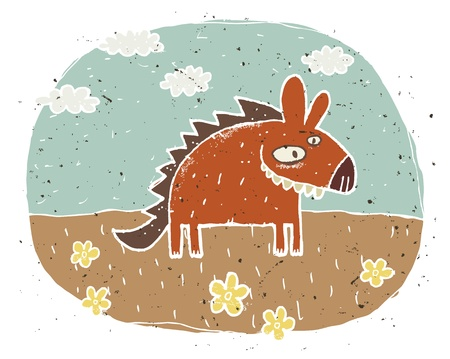 child laughing: Hand drawn grunge illustration of cute hyena  smiling  on background with flowers and clouds