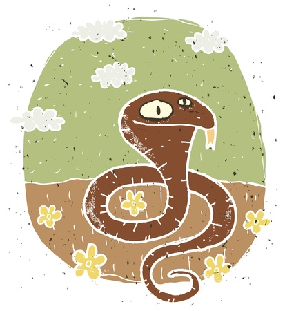 Hand drawn grunge illustration of cute cobra on background with flowers and clouds  Vector