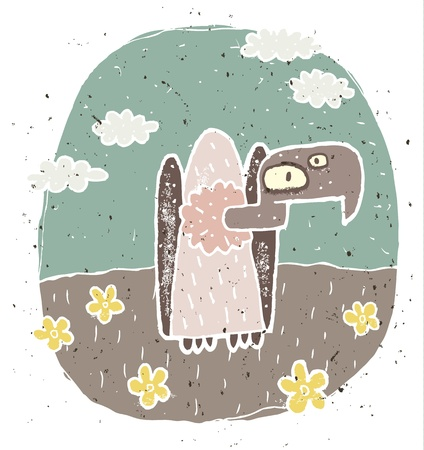 Hand drawn grunge illustration of cute vulture on background with flowers and clouds  Vector