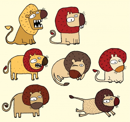 roar: Seven Lions  hand drawn cartoon illustration of seven funny lions