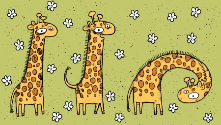 Hand drawn grunge illustration of three giraffes on floral background  Vector