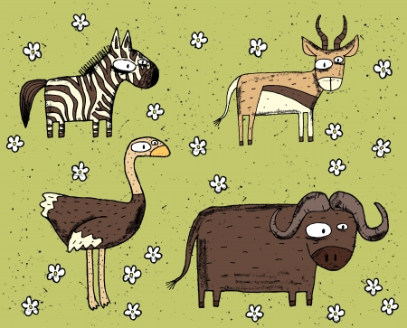 Hand drawn grunge illustration set of zebra, antelope, ostrich and buffalo  Stock Vector - 17142880