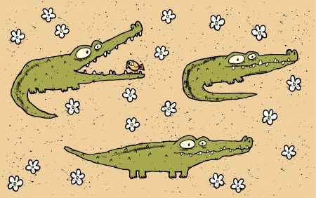 Hand drawn grunge illustration set of three cute crocodiles on floral background  Vector