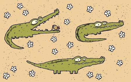africa crocodile: Hand drawn grunge illustration set of three cute crocodiles on floral background  Illustration