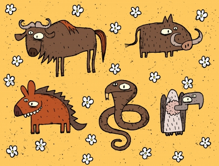 Hand drawn grunge illustrations set of gnu, warthog, hyena, cobra and vulture  Vector