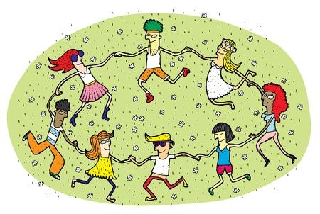 ni�os divirtiendose: La gente joven que baila en un c�rculo en el campo de hierba verde con flores Vectores