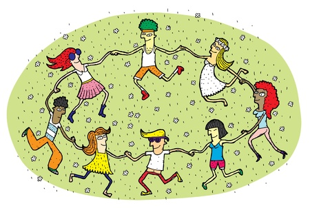 Young People Dancing in a Circle on Green Grass Field with Flowers  Vector