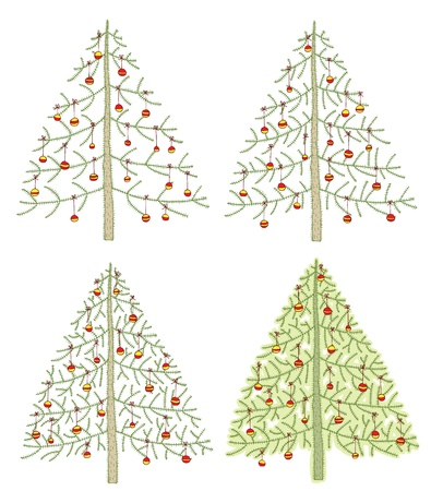 Hand drawn detailed grunge illustrations of four different christmas trees  Vector