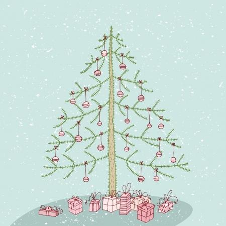no 1: Hand drawn detailed grunge illustration of christmas tree No. 1