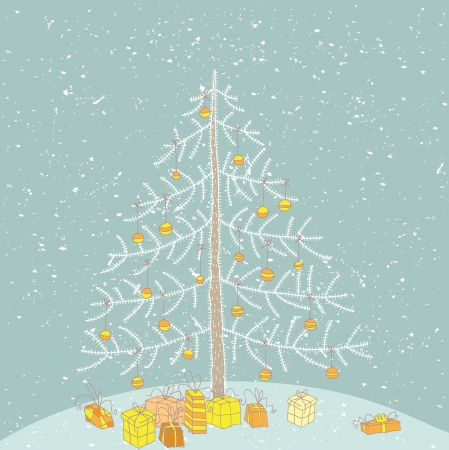 Hand drawn detailed grunge illustration of christmas tree No. 2  Vector