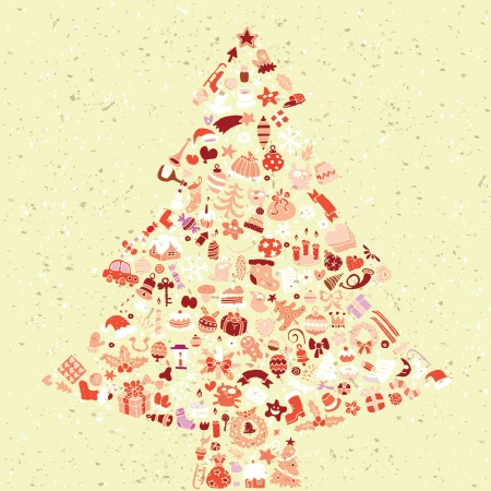 Christmas Tree Square Card ... made from collection of small christmas icons Stock Vector - 17142709