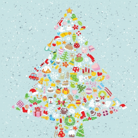 Christmas Tree Square Card ... made from collection of small christmas icons  Vector
