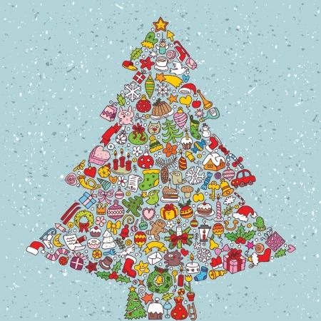 クリスマス ツリー広場カード... 小さなクリスマスのアイコンのコレクションから作られました。  イラスト・ベクター素材