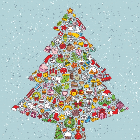 Christmas Tree Square Card ... made from collection of small christmas icons Stock Vector - 17142827